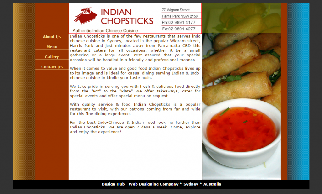 Website design for Indian Chopsticks, Harris Park, Logo Design for Indian Chopsticks, Harris Park, Parramatta