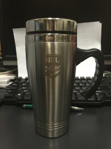 Travel Mugs with NRL Logo engraved
