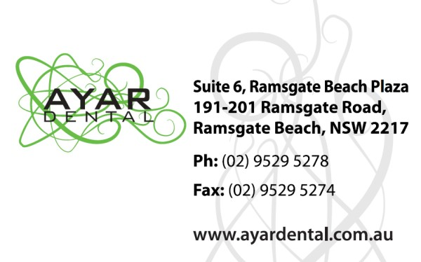 Business Card Front Design for Ayar Dental Ramsgate