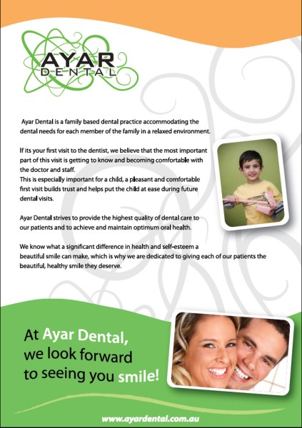 Flyers Artwork Back Design For Ayar Dental Ramsgate