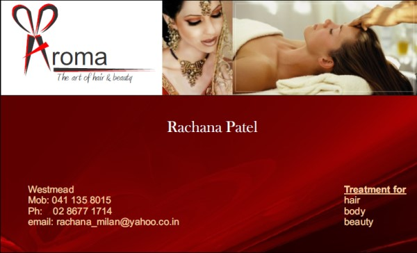 Business Card Front Side for Aroma Hair and Beauty