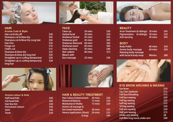 Brochure Design Back for Aroma Hair and Beauty Sydney