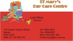 business cards for day care centre  Kogarah