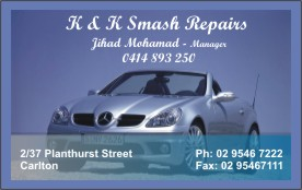 Business cards for Smash Repair, Carlton, NSW