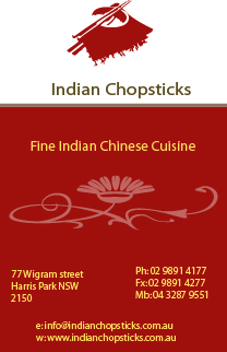 Business cards front design for Indian Chopsticks, Harris Park, Parramatta