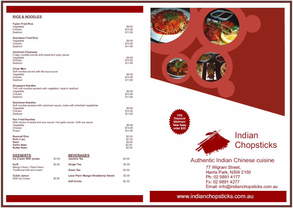 In House menu for Indian Chopsticks, Harris Park, Parramatta