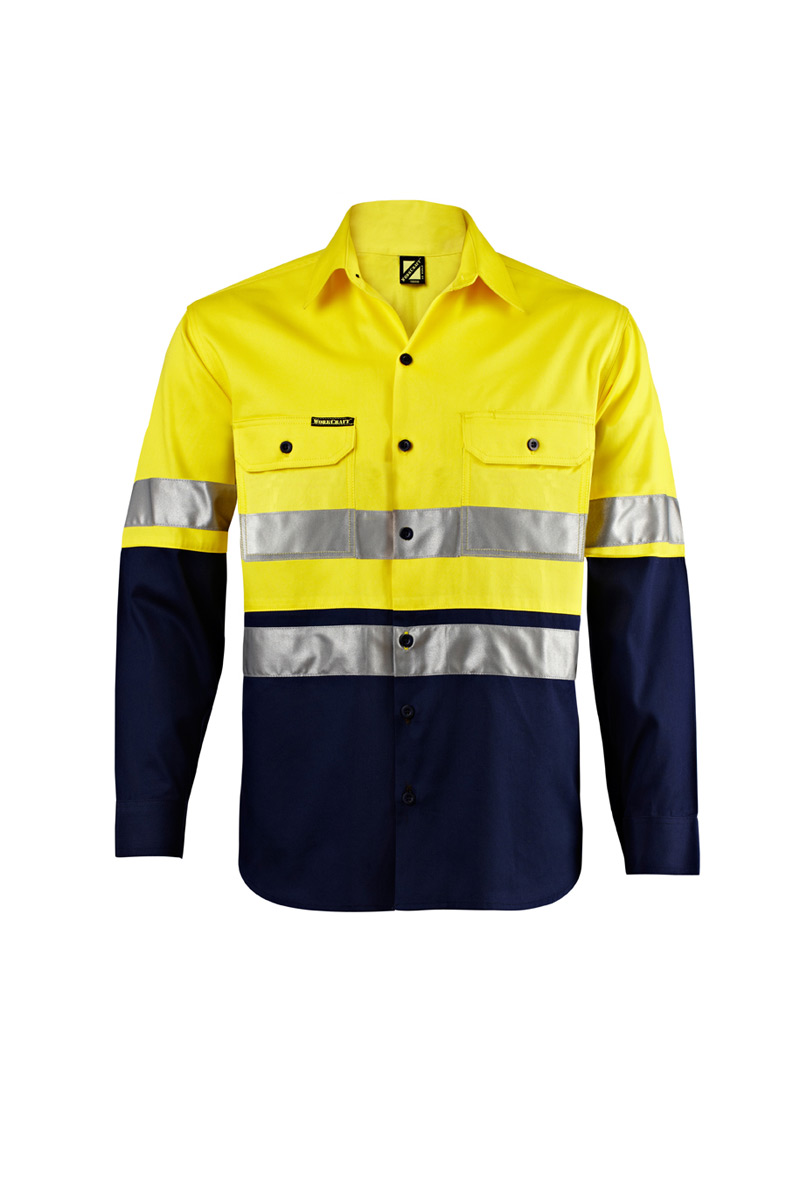 Hi vis two tone long sleeve shirt with 3m reflective tape for Hi vis shirts with reflective tape