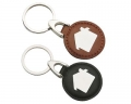 Metal Keyring With House Imprinted On Round Leather