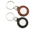 Metal Keyring With Circle Imprinted On Round Leather