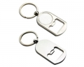 Curved Bottle Opener With Circle Metal Keyring